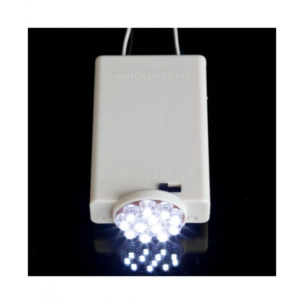 Battery powered light with 12 super efficient LED