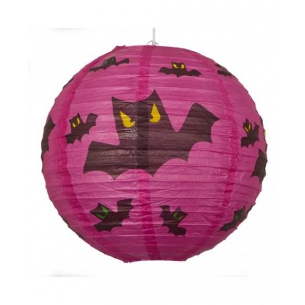 "12"" Paper Lantern Round Halloween Bats  - Regular Wire Ribbing"