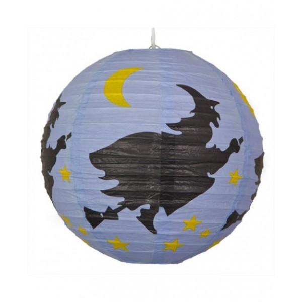 """12"""" Paper Lantern Round Halloween Witches Design - Regular Wire Ribbing"""