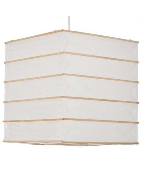 """12"""" White Box Paper Lantern with Natural Regular Bamboo ribbing"""