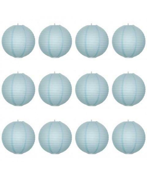 "16"" Paper Lantern Arctic Blue Regular Wire Value Pack (12 PCS)."