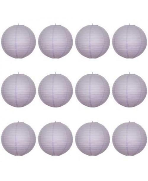 "16"" Paper Lantern Lavender Regular Wire Value Pack (12 PCS)."