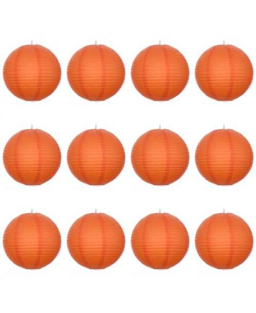 "16"" Paper Lantern Orange Regular Wire Value Pack (12 PCS)."