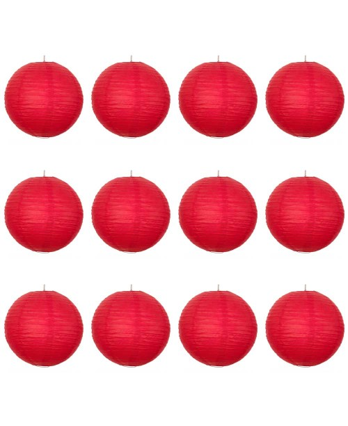 "16"" Paper Lantern Red Regular Wire Value Pack (12 PCS)."