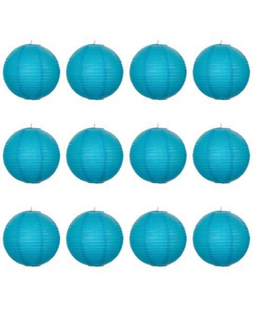 "16"" Paper Lantern Turquoise Regular Wire Value Pack (12 PCS)."