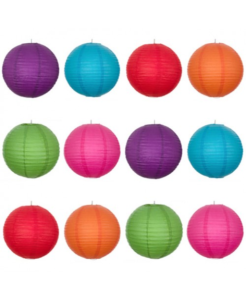 "16"" Paper Lantern Vibrant Regular Wire Party Pack (12 PCS)."