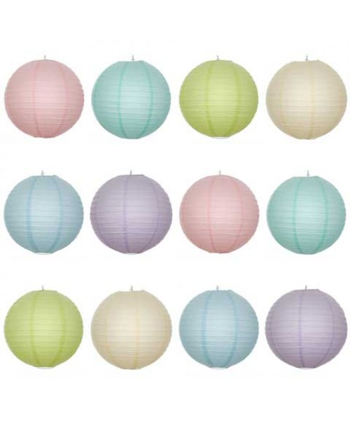 "16"" Paper Lantern Pastel Regular Wire Party Pack (12 PCS)."